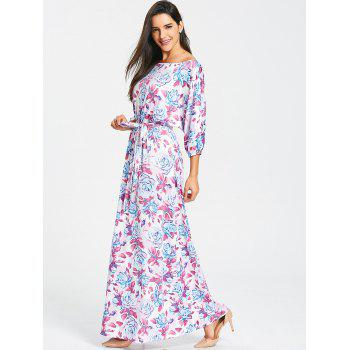 Belted Floral Print Batwing Sleeve Maxi Dress - PURPLE PURPLE