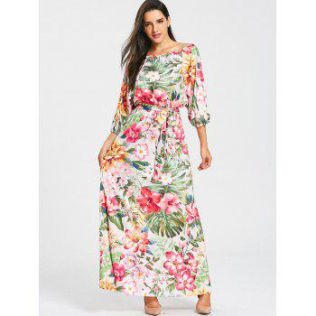 Belted Floral Print Batwing Sleeve Maxi Dress - YELLOW / GREEN YELLOW / GREEN