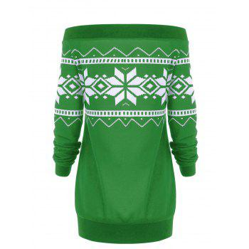 Plus Size Snowflake Geometric Skew Neck Pullover Sweatshirt - GREEN 5XL