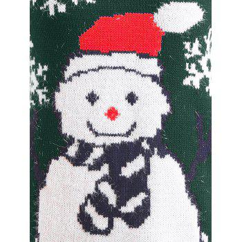 Christmas Snowman Raglan Sleeve Sweater - BLACKISH GREEN ONE SIZE