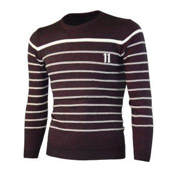 Number Jacquard Crew Neck Stripe Sweater - WINE RED ONE SIZE(FIT SIZE XS TO M)