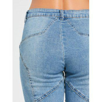 Star Patchwork High Rise Jeans - BLUE BLUE