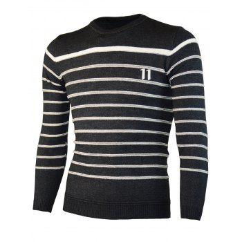 Number Jacquard Crew Neck Stripe Sweater - BLACK 2XL
