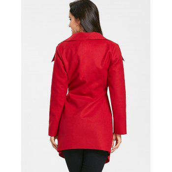 Belted Asymmetrical Wrap Coat - RED M