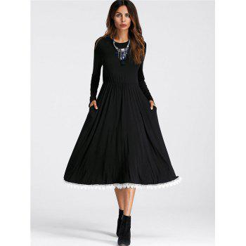 Midi Lace Insert A Line Dress - BLACK L