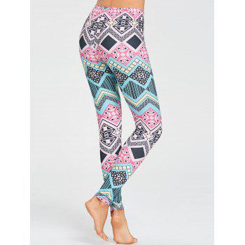 Sports Colored Geometric Pattern Leggings - FLORAL M