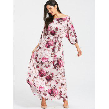 Batwing Sleeve Floral Print Dress - PURPLISH RED PURPLISH RED