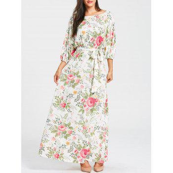 Batwing Sleeve Floral Print Dress - WHITE WHITE