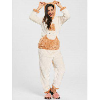 Fuzzy Hooded Bunny Pajamas Set - OFF WHITE L