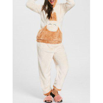 Fuzzy Hooded Bunny Pajamas Set - OFF-WHITE OFF WHITE