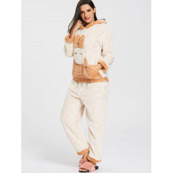 Fuzzy Hooded Bunny Pajamas Set - OFF WHITE OFF WHITE