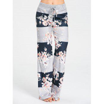 Drawstring Waist Flower Print Pajama Pants - GRAY 2XL