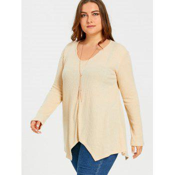 Plus Size  Ribbed Knit  Asymmetric Sweater - KHAKI 5XL