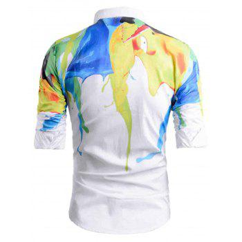 Abstract Painted Curve Hem Casual Shirt - WHITE 2XL
