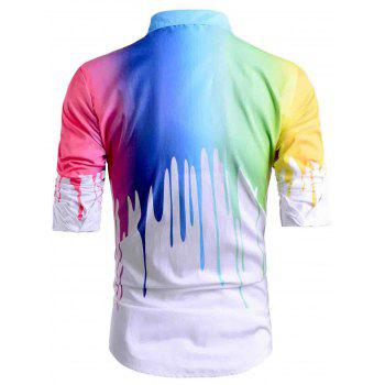 Colored Paint Drip Print Long Sleeve Shirt - WHITE M