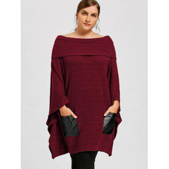 Plus Size Batwing Sleeve Off The Shoulder Top - WINE RED 4XL
