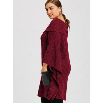 Plus Size Batwing Sleeve Off The Shoulder Top - WINE RED WINE RED