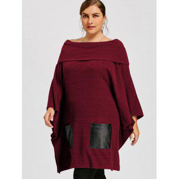 Plus Size Batwing Sleeve Off The Shoulder Top - WINE RED XL