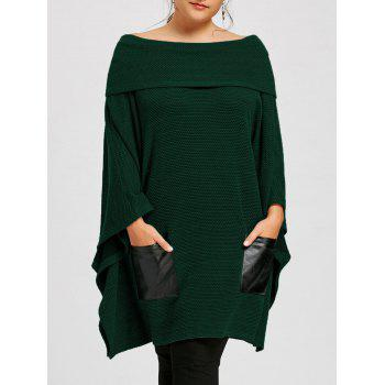 Plus Size Batwing Sleeve Off The Shoulder Top - GREEN GREEN