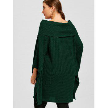 Plus Size Batwing Sleeve Off The Shoulder Top - GREEN 3XL