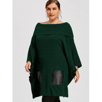 Plus Size Batwing Sleeve Off The Shoulder Top - GREEN 2XL