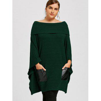 Plus Size Batwing Sleeve Off The Shoulder Top - GREEN XL