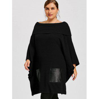 Plus Size Batwing Sleeve Off The Shoulder Top - BLACK XL