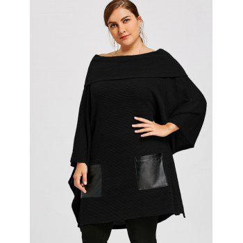 Plus Size Batwing Sleeve Off The Shoulder Top - BLACK 4XL