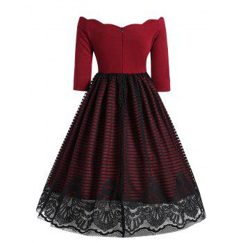 Lace Insert Overlay Vintage Dress - WINE RED S