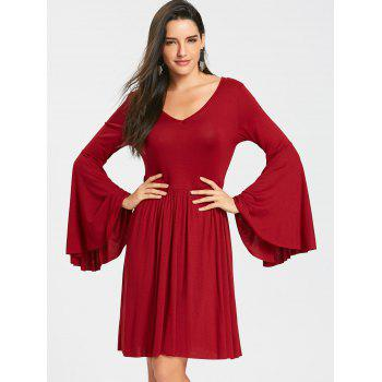 Cut Out Bell Sleeve Mini Skater Dress - WINE RED L