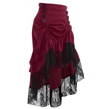 Lace Insert High Waisted Midi Party Skirt - WINE RED M