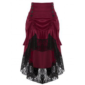 Lace Insert High Waisted Midi Party Skirt