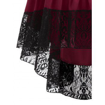 Lace Insert High Waisted Midi Party Skirt - WINE RED WINE RED