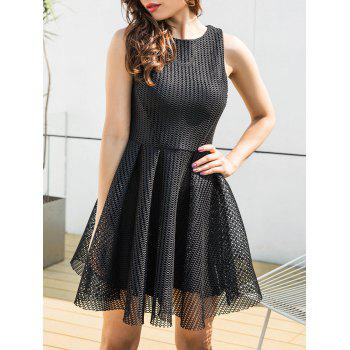 Mesh Sleeveless A-line Mini Dress - BLACK L