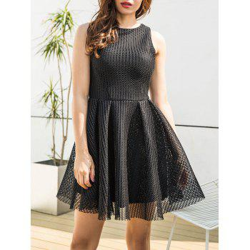 Mesh Sleeveless A-line Mini Dress - BLACK BLACK