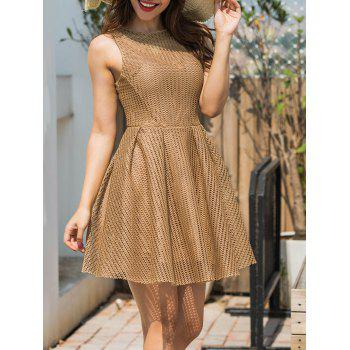 Mesh Sleeveless A-line Mini Dress - KHAKI S