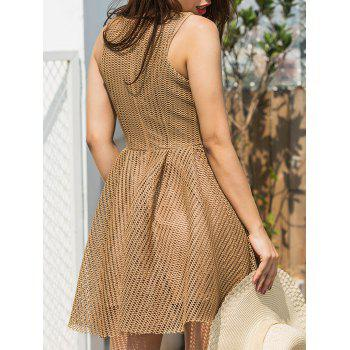 Mesh Sleeveless A-line Mini Dress - KHAKI L
