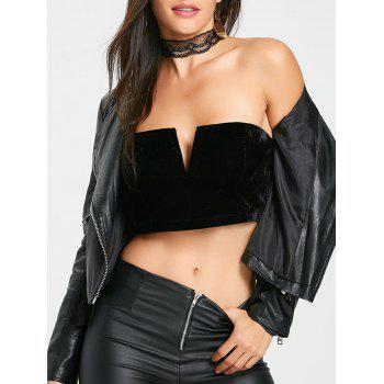 V Cut Velvet Tube Crop Top - BLACK BLACK