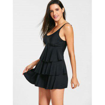 Layered Skirted Tankini Swimsuit - BLACK S