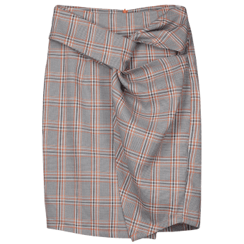 Twist Checked Pencil Skirt - CHECKED XL