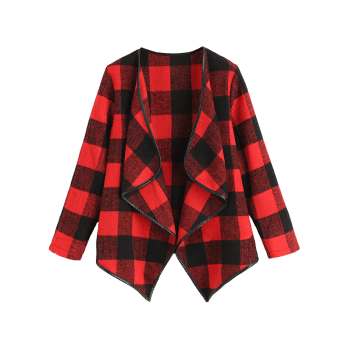 Draped Checked Asymmetric Coat - RED S