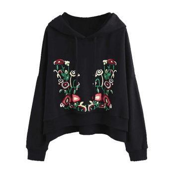 Floral Embroidered Side Slit Oversized Hoodie - BLACK L