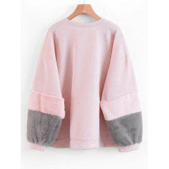 Sweat-shirt à Manches Texturées Contrastantes - Rose S