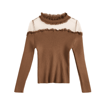 Ruff Collar Mesh Panel Ribbed Knitwear - COFFEE ONE SIZE