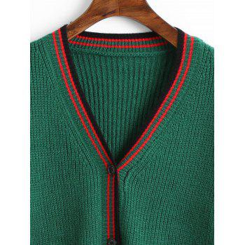 Button Up V Neck Striped Cardigan - GREEN ONE SIZE
