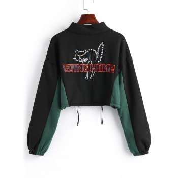 Zip Up Letter Cat Embroidered Cropped Sweatshirt - BLACK ONE SIZE