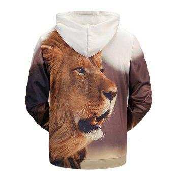 Lion 3D Print Kangaroo Pocket Pullover Hoodie - COLORMIX 2XL