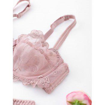 Underwire Lace See Thru Bra Set - PALE PINKISH GREY 80B