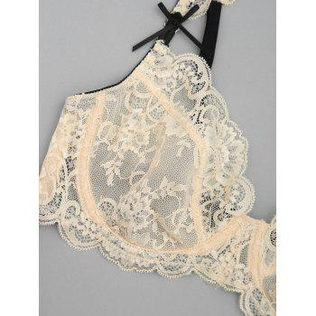 Scallop Trim Lace String Bra Set - COMPLEXION 70A