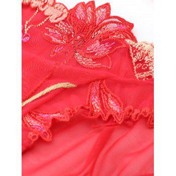 Mesh Sheer Embroidery Unlined Bra Set - RED 75B